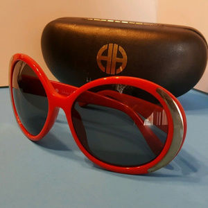 House of Harlow 1960 red round oversize sunglasses